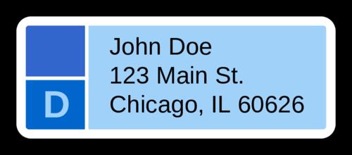 Blue Monogram Address Label