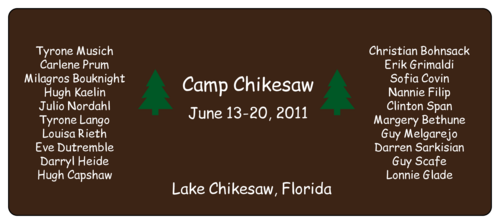 Camp Water Bottle Label