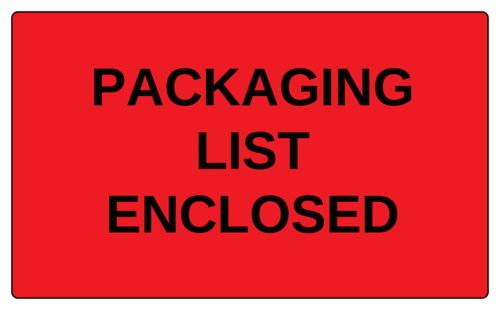 """Packaging List Enclosed"" Label"