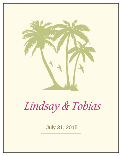 Paradise Palm Wedding Wine Bottle Label