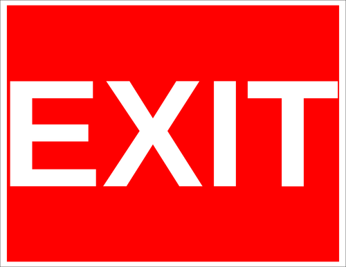 """Red Background """"Exit"""" Sign Label"""