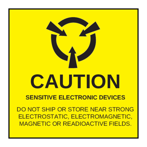 """Caution Sensitive Electronic Devices"" Label"
