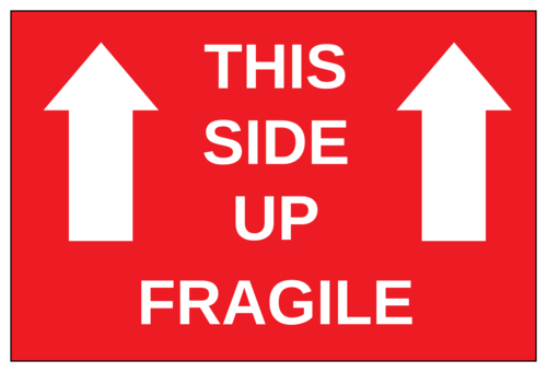 """This Side Up - Fragile"" Shipping Label"