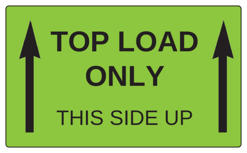 """Top Load Only"" - ""This Side Up"" Label"