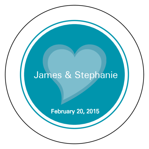 Turquoise Heart Wedding Envelope Seal Label