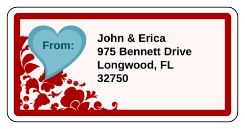 Decorative Floral Heart Address Label