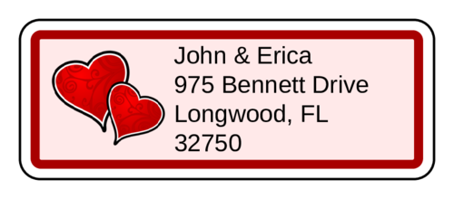 Valentine'S Day Heart Swirls Address Label