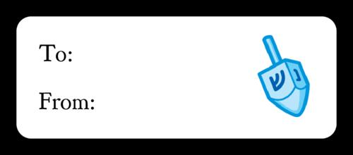 Hanukkah Dreidel Gift Label