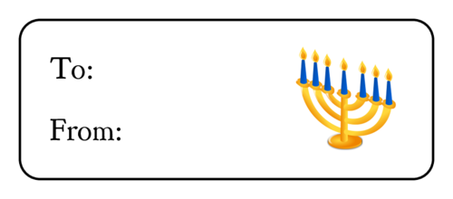 Hanukkah Menorah Gift Label