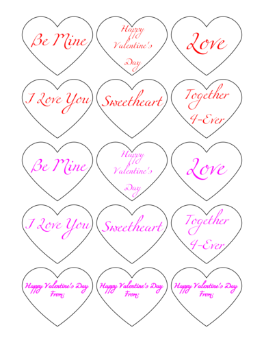 Valentine's Day Candy Heart Stickers Printable 2