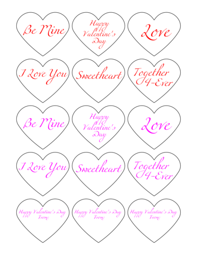 Valentine's Day Candy Heart Stickers Printable