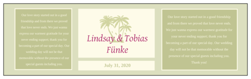 Tropical Paradise Wedding Water Bottle Label