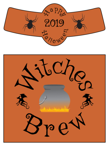 Witches Brew Beer Bottle Halloween Label