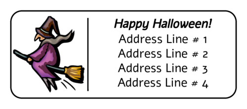 Witch on Flying Broom Address Label