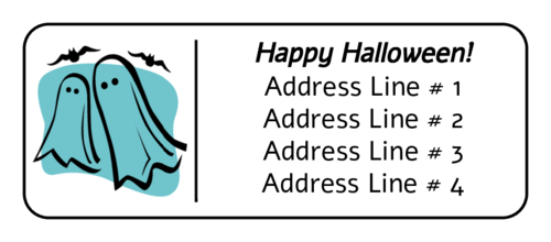 Halloween Ghosts and Bats Label