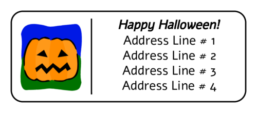Halloween Jack O' Lantern Cartoon Address Label