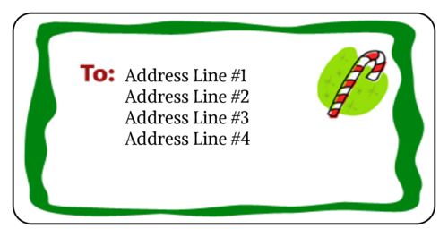 Christmas Candy Cane Address Label