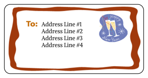 New Year's Champagne Flute Address Label