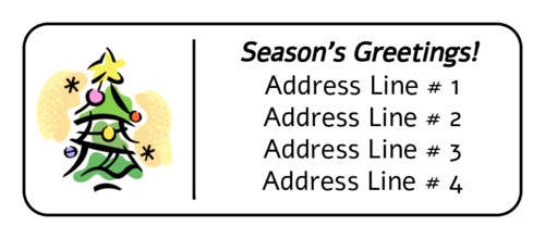 Illustrated Christmas Tree Address Label