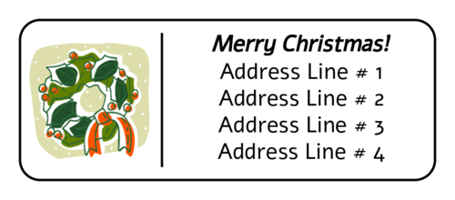 Christmas Wreath with Bow Address Label
