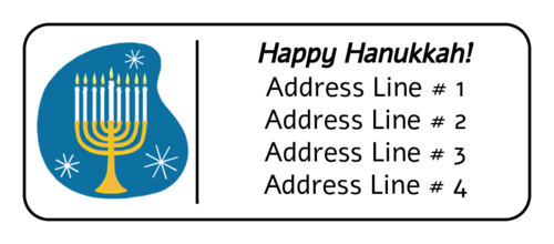 """Happy Hanukkah"" Menorah Address Label"