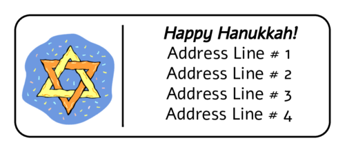 """Happy Hanukkah"" Star of David Address Label"
