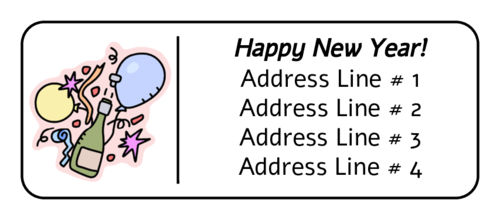 New Years Celebration Balloon Address Label