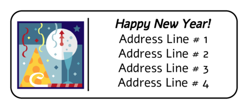 New Years Party Illustration Address Label