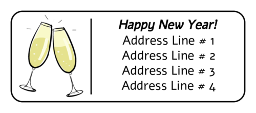 New Years Champagne Address Label