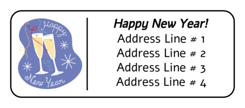 New Years Champagne Toast Address Label