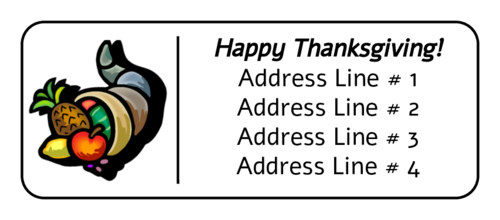 """Happy Thanksgiving"" Cornucopia Address Label"