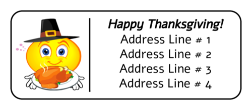 """Happy Thanksgiving"" Smiley Pilgrim Address Label"