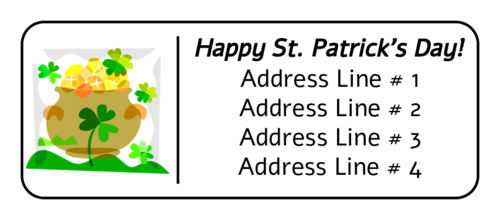 """Happy St. Patrick's Day"" Pot-of-Gold Address Label"