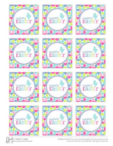 """Happy Easter"" Color Mosaic Label Printable"