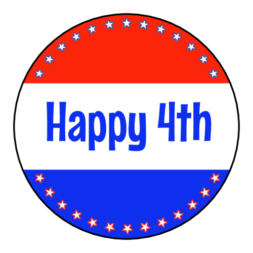 """Happy 4th"" Cupcake Topper Label"