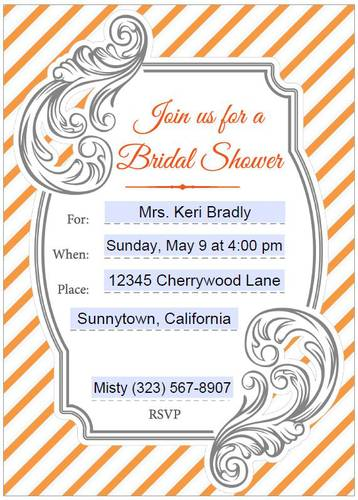 Bridal Shower Full Sheet Orange & Gray Invitation