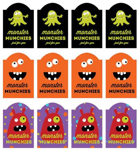 Assorted Monster Munchies Labels Printable