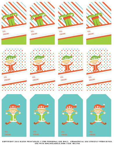 Assorted Elf Christmas Gift Tag Printable Labels