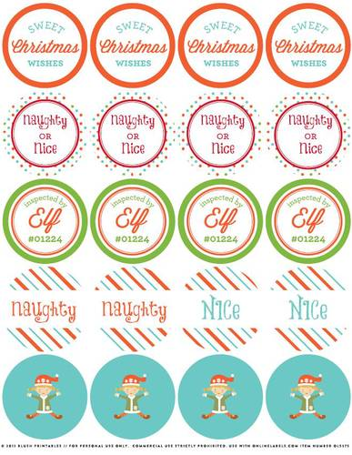 Christmas Elf Assorted Printable Round Sticker