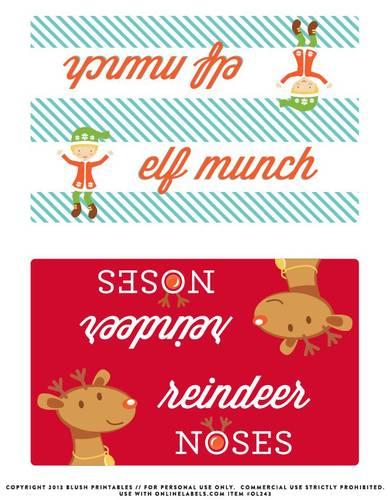 Christmas Bag Topper Elf Munch Reindeer Noses Label