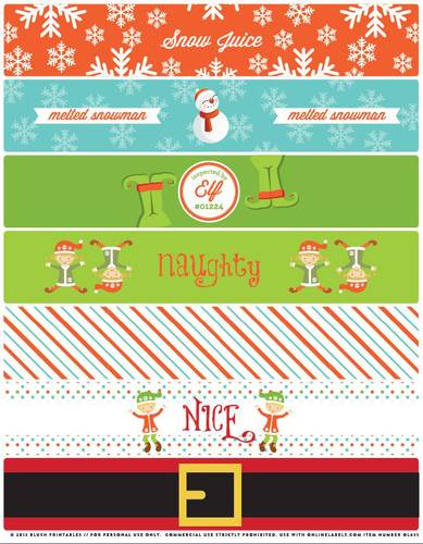 Assorted Christmas Themed Water Bottle Label