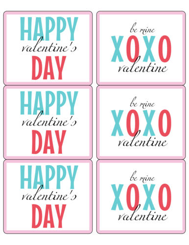 Happy Valentine's Day XOXO Wine Bottle Label