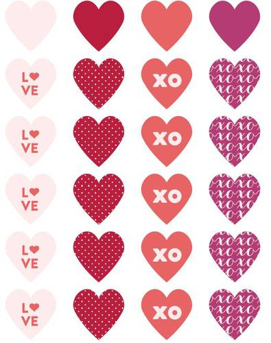Assorted Heart Designs Label