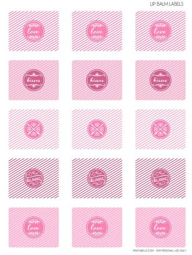 Assorted Valentine's Day Pink Lip Balm Tube Labels Printable