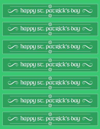 """Happy St. Patrick's Day"" Water Bottle Label Printable"