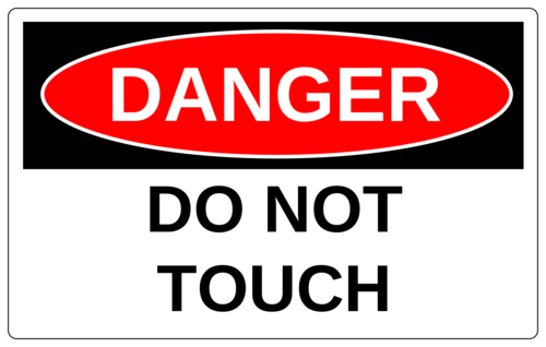 """Danger - Do Not Touch"" Warehouse Machinery Sticker"
