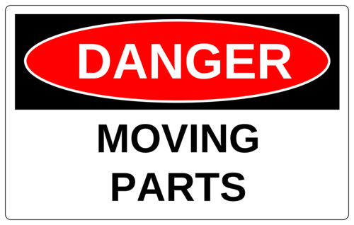 """Danger - Moving Parts"" Warehouse Machinery Label"