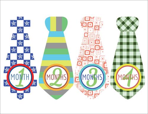 """Baby Age Milestone Tie """"Months 1-4"""" Sticker"""