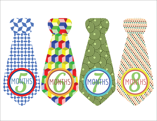 """Baby Age Milestone Tie """"Months 5-8"""" Sticker"""