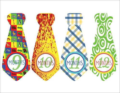 """Baby Age Milestone Tie """"Months 9-12"""" Sticker"""